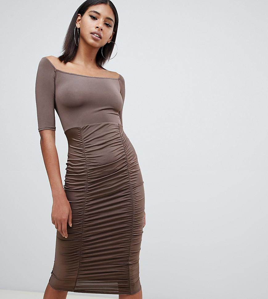 ecf6ebd221e0f PRETTYLITTLETHING - Brown Slinky Bardot Ruched Detail Midi Dress In  Chocolate - Lyst. View fullscreen