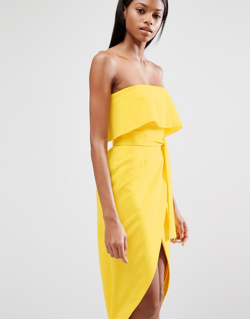 Lavish Alice Bandeau Cropped Tie Front Midi Dress In