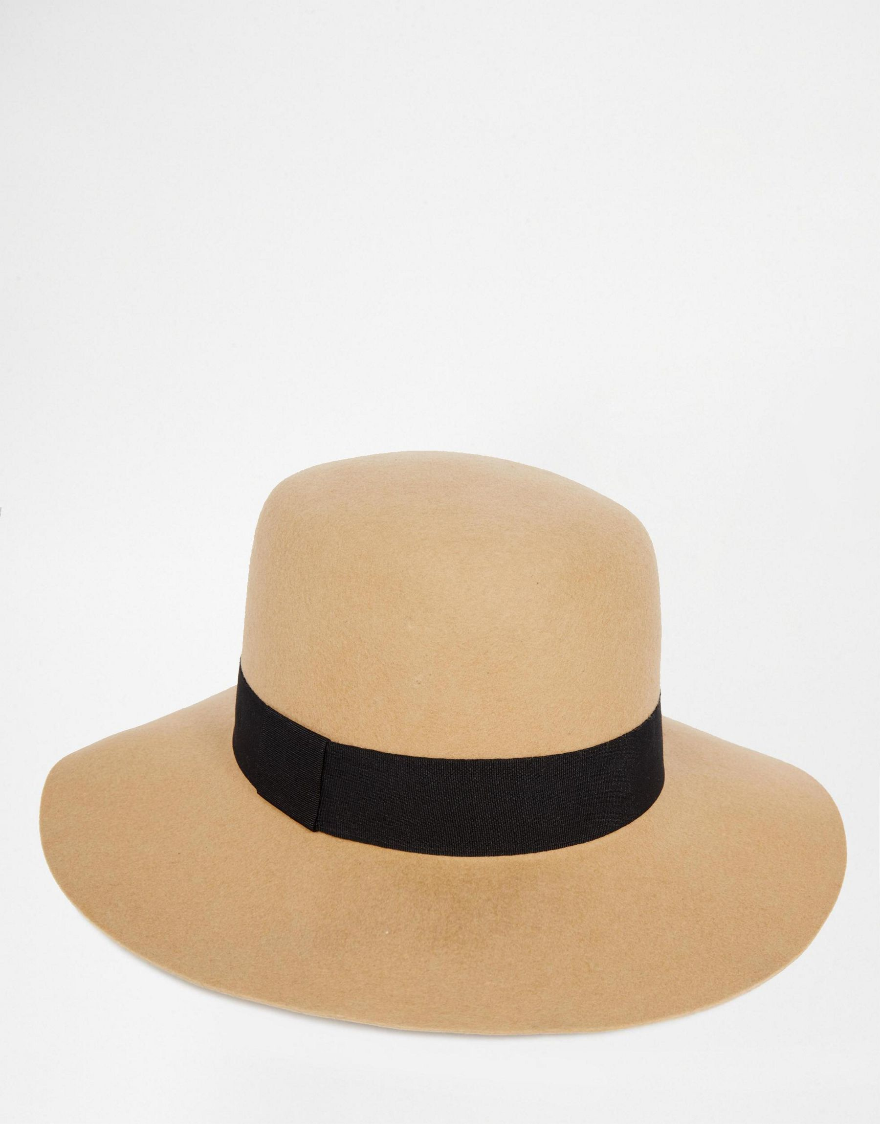 b69b679bd716e Lyst - ASOS Flat Top Beekeeper In Camel Felt With Wide Brim - Brown ...