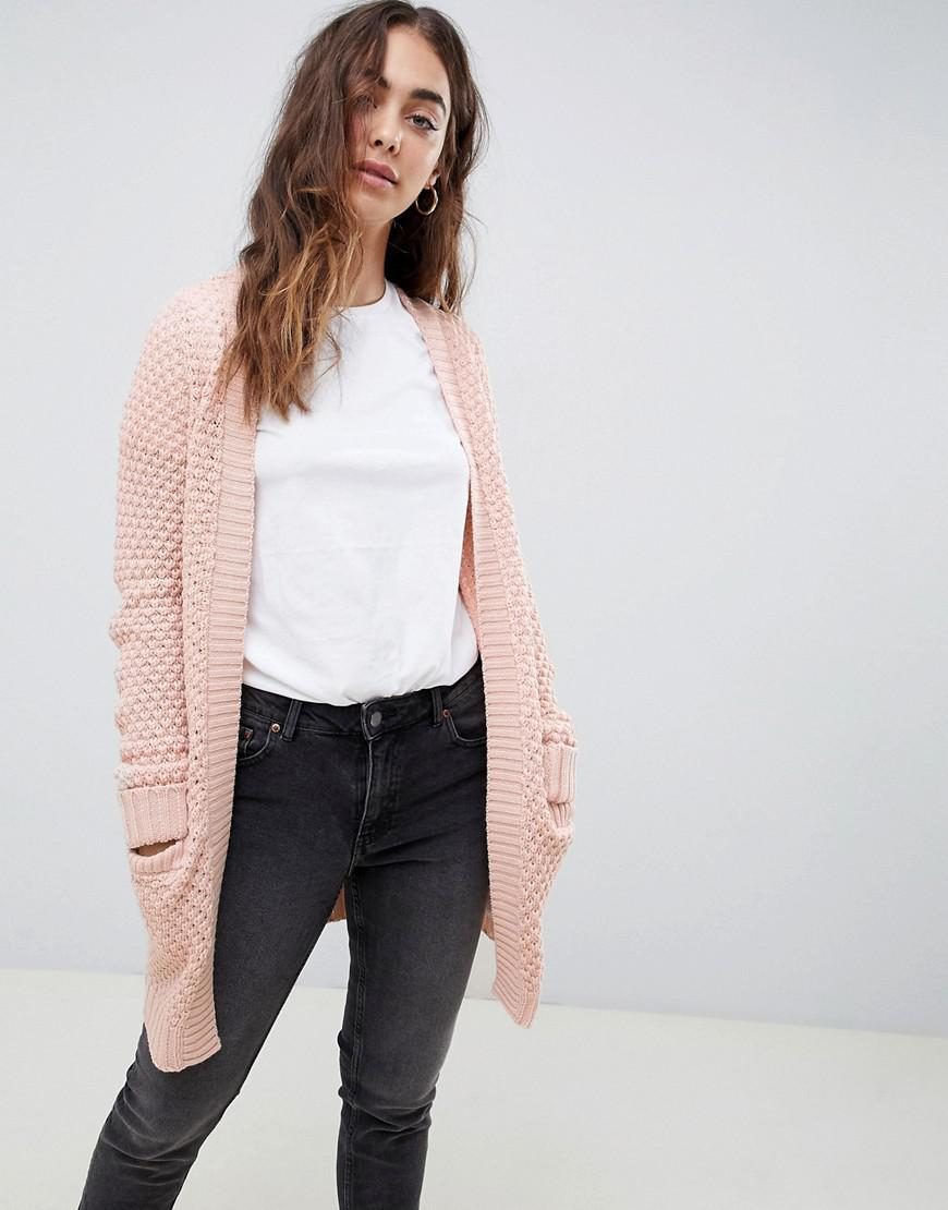 Lyst - Vero Moda Chunky Knitted Cardigan in Pink 48345a0be