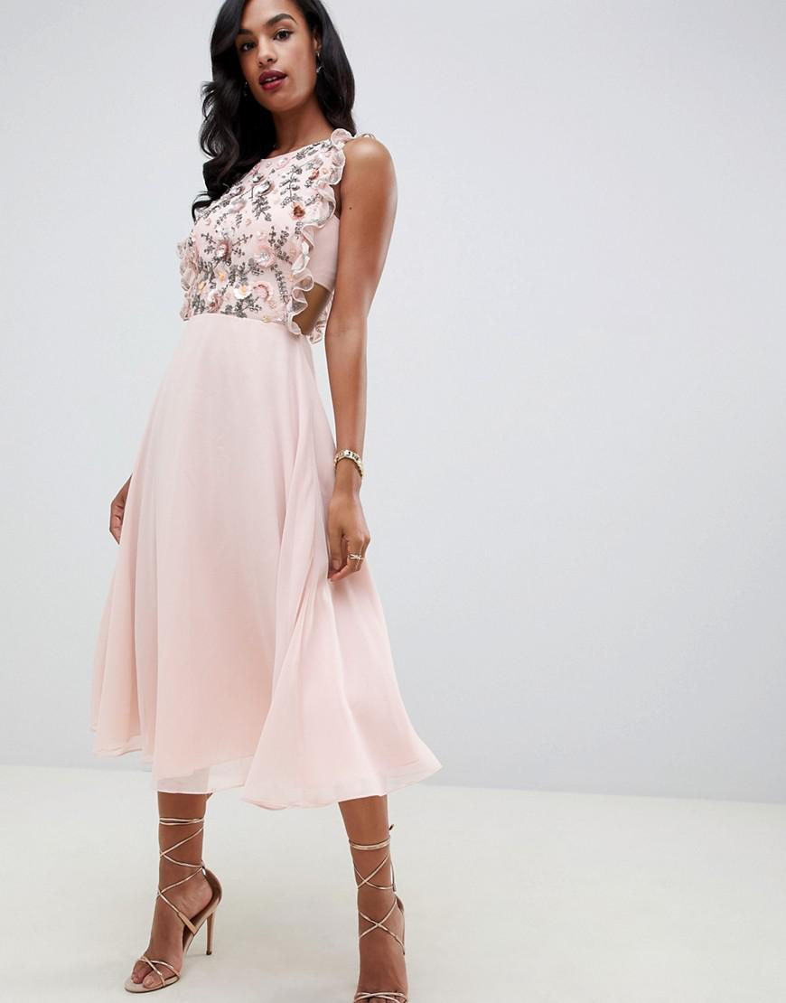a4907e3a45b75 ASOS Midi Dress With Pinny Bodice In 3d Floral Embellishment in Pink ...