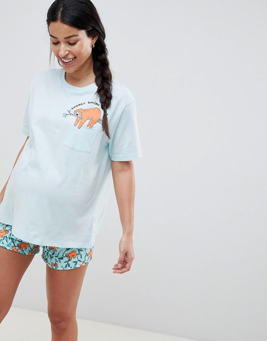 2f5bce9c671f1 ASOS Asos Design Maternity Sloth Tee And Short Pyjama Set in Blue - Lyst