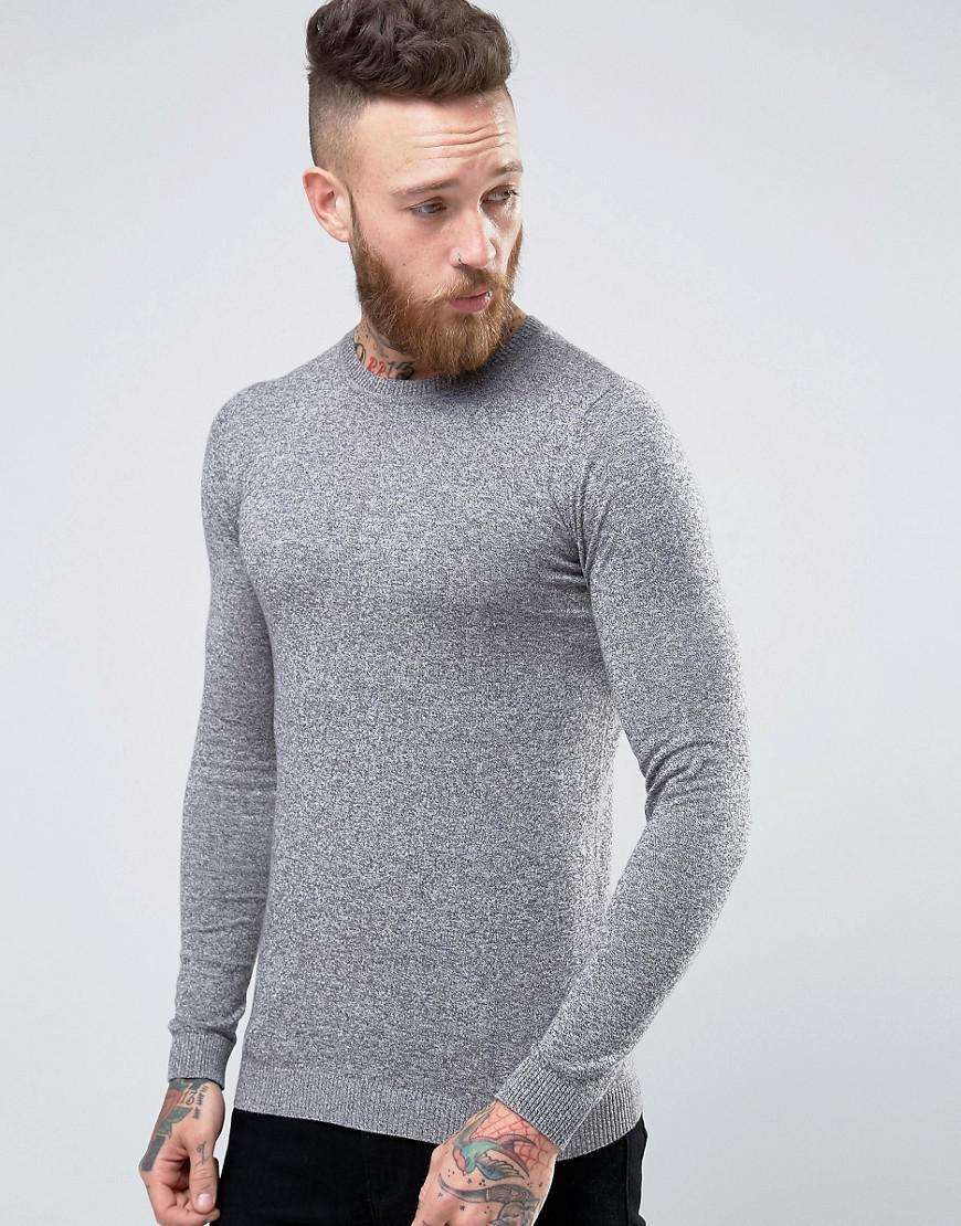 ddca1536 Lyst - ASOS Crew Neck Jumper In Grey Cotton In Muscle Fit in Gray ...