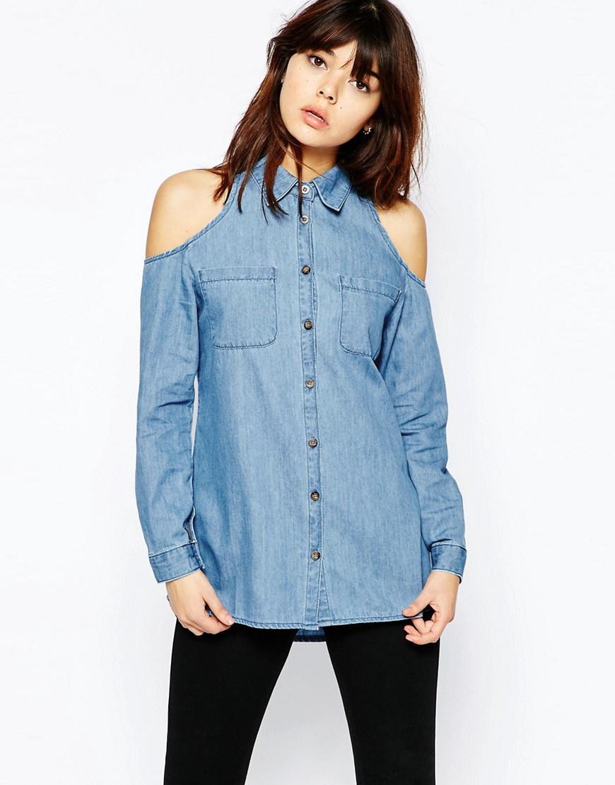 asos denim cold shoulder shirt in mid wash blue in blue lyst. Black Bedroom Furniture Sets. Home Design Ideas