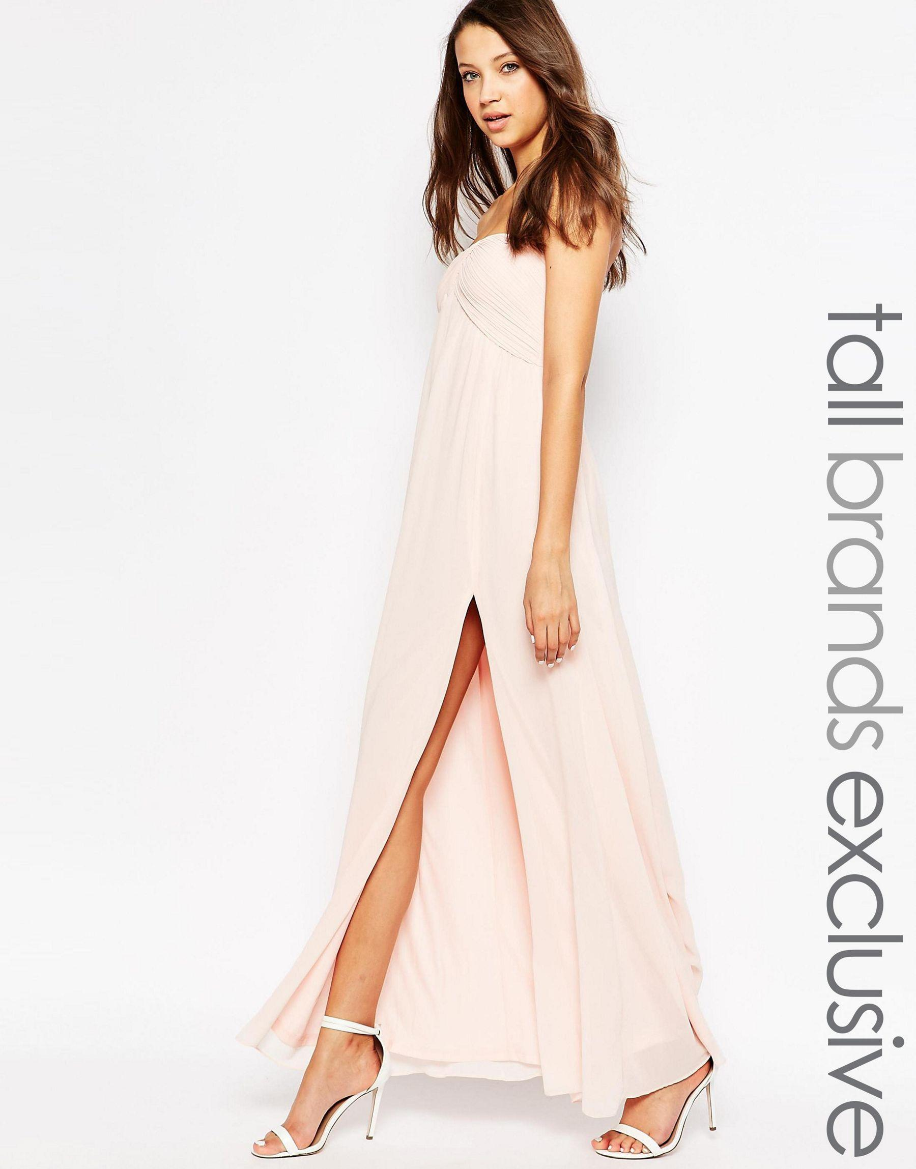 0cfbba52302 Lyst - True Decadence Bandeau Maxi Dress With Thigh Split - Pink in ...