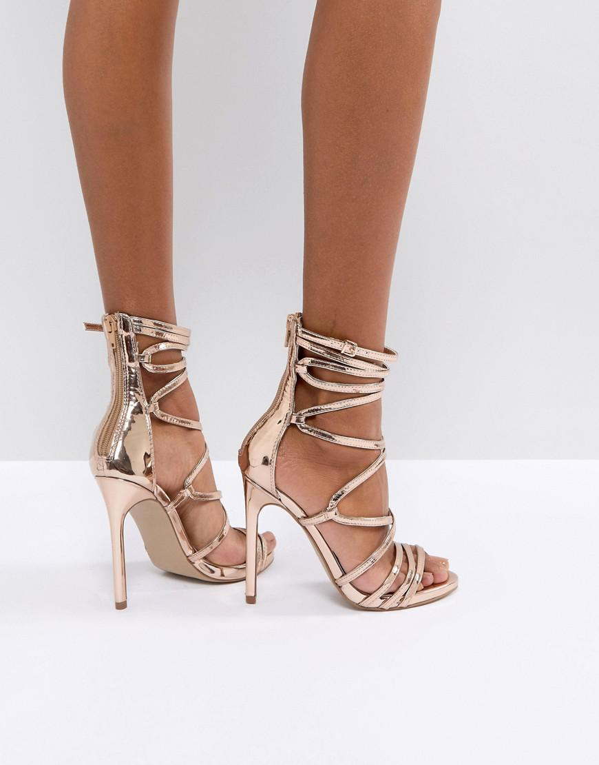 3ab62bba3df Lyst - Steve Madden Flaunt Heeled Sandals in Metallic