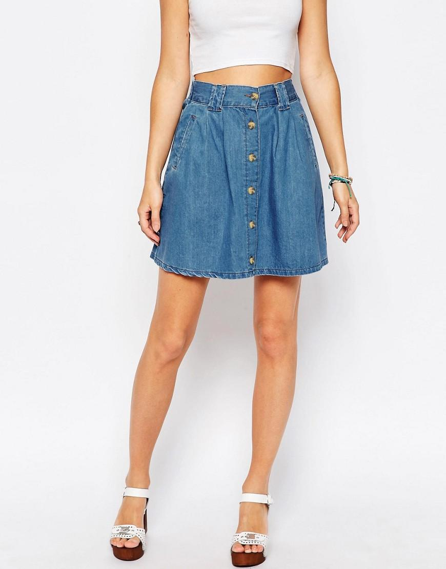 0a3244a34 ASOS Denim Button Front Mini Skater Skirt In Mid Wash Blue in Blue ...