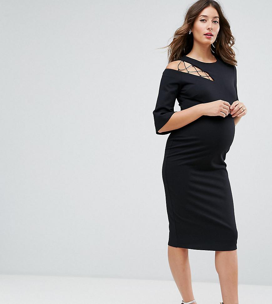 Fluted Sleeve Shift Dress with Ladder Detail - Black Asos Petite 7Ud10PBcI