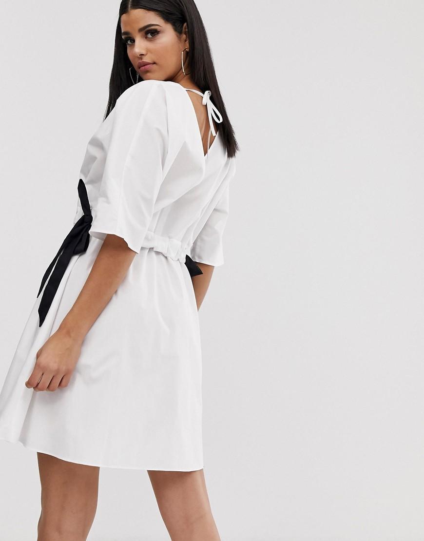 3e7427de4dc ASOS Asos Design Tall V Front V Back Ruched Waist Mini Smock Dress in White  - Lyst