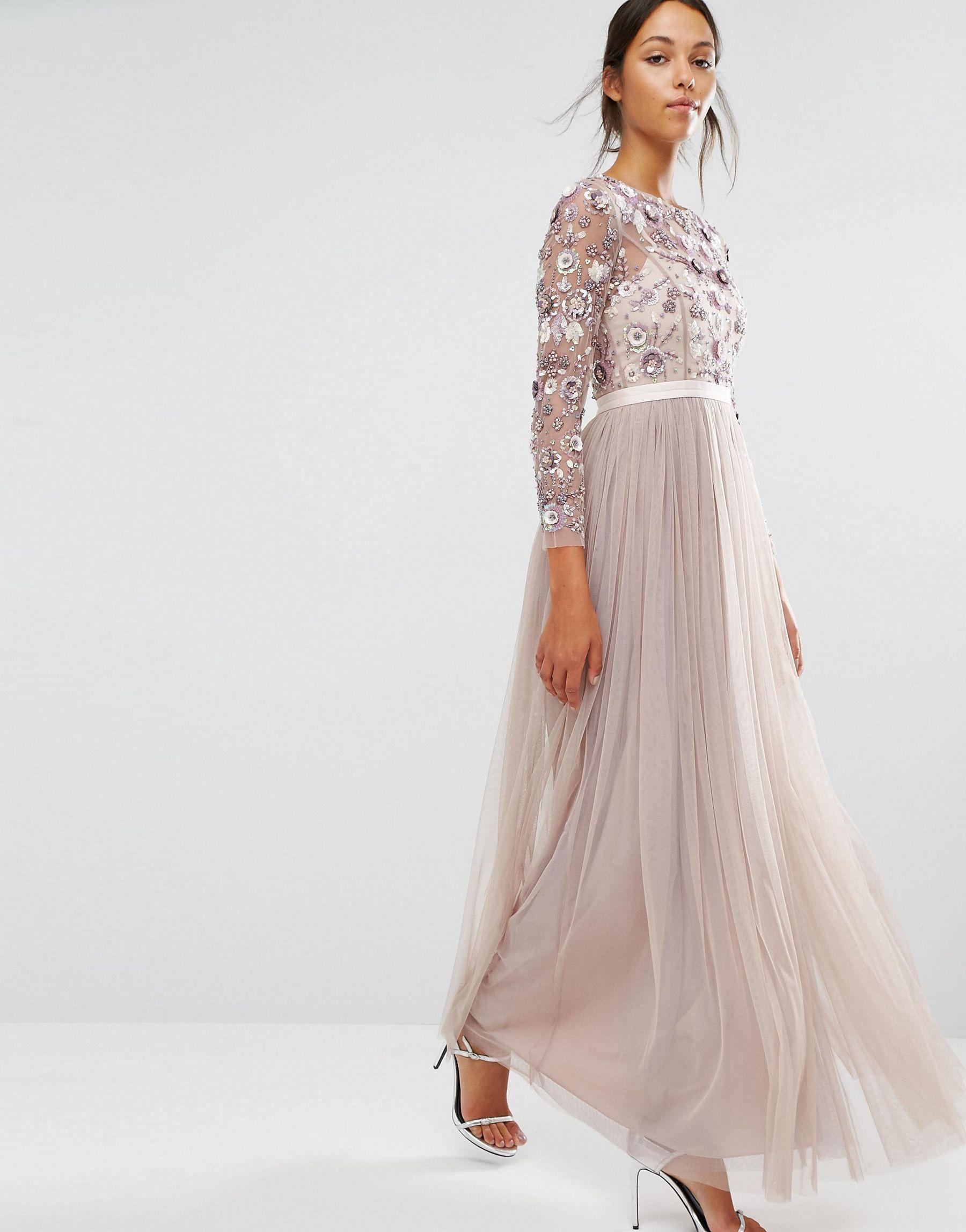Lyst - Needle & Thread Tulle Floral Embellished Gown in Purple