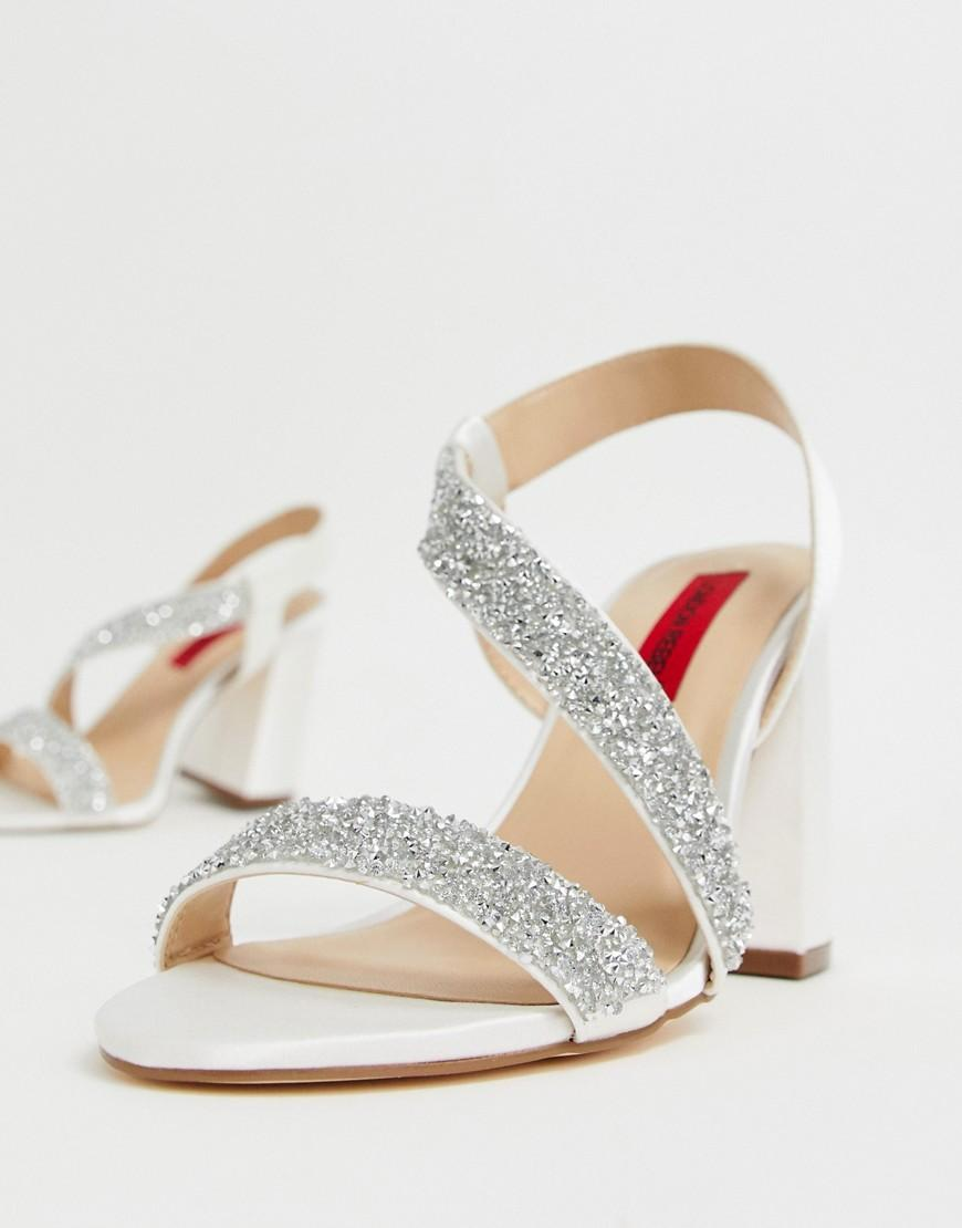 faa9f921cec3 London Rebel Bridal Barely There Embellished Block Heel Sandals - Lyst