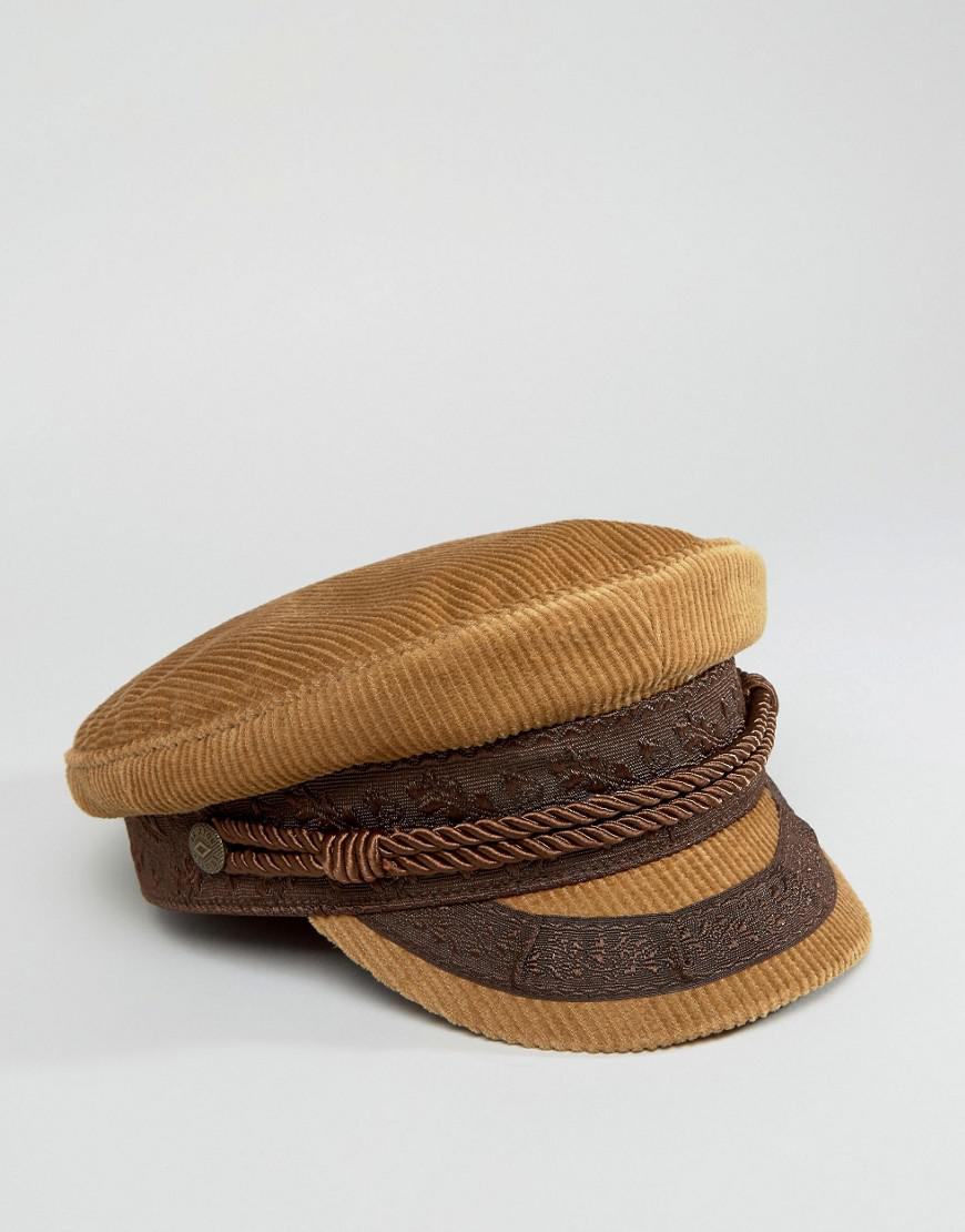 Lyst - Brixton Cord Baker Boy Hat in Brown cfed85bf5af