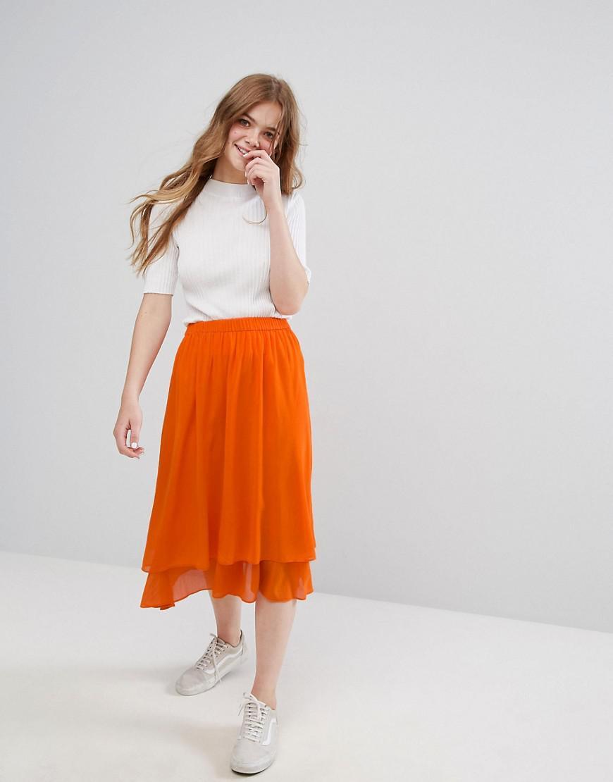 07653a336 Monki Ruffle Tiered Midi Skirt in Orange - Lyst