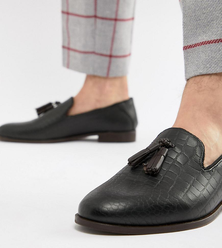 1a1f3c04fdc Lyst - House Of Hounds Wide Fit Osprey Tassel Loafers In Black Croc ...