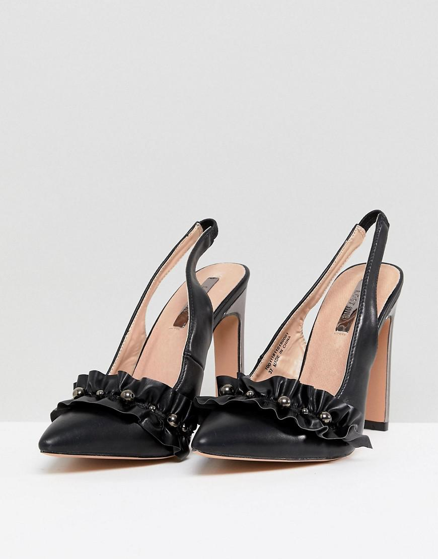 12515b4f12f4 Lyst - Lost Ink Black Pearl Detail Ruffle Heeled Shoes in Black