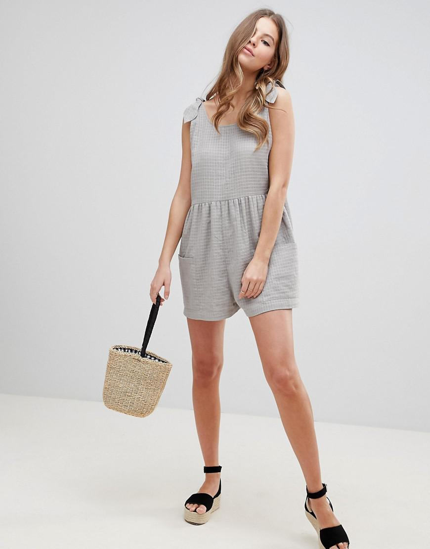 e8ac0c040315 Lyst - ASOS Smock Romper With Tie Shoulder in Gray