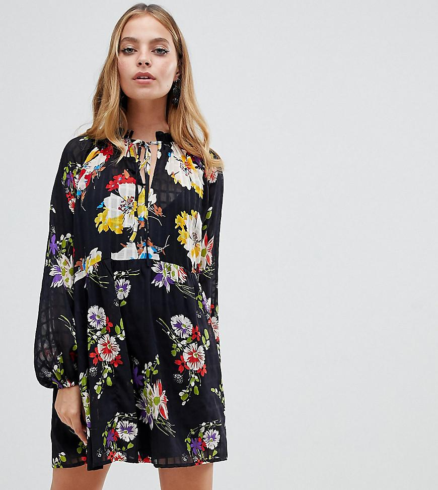 aa9544a265ff7 ASOS Asos Design Petite Mini Smock Dress In Grid Floral Print With ...