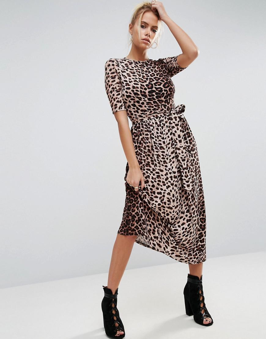 fb99efc138d ASOS Midi Dress In Leopard With Self Tie Belt - Lyst