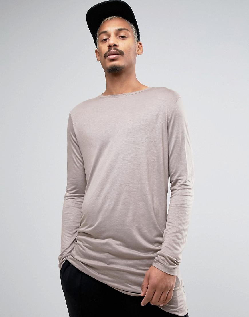 5660ea7a553c26 Lyst - Asos Super Longline Long Sleeve T-shirt In Bamboo With ...