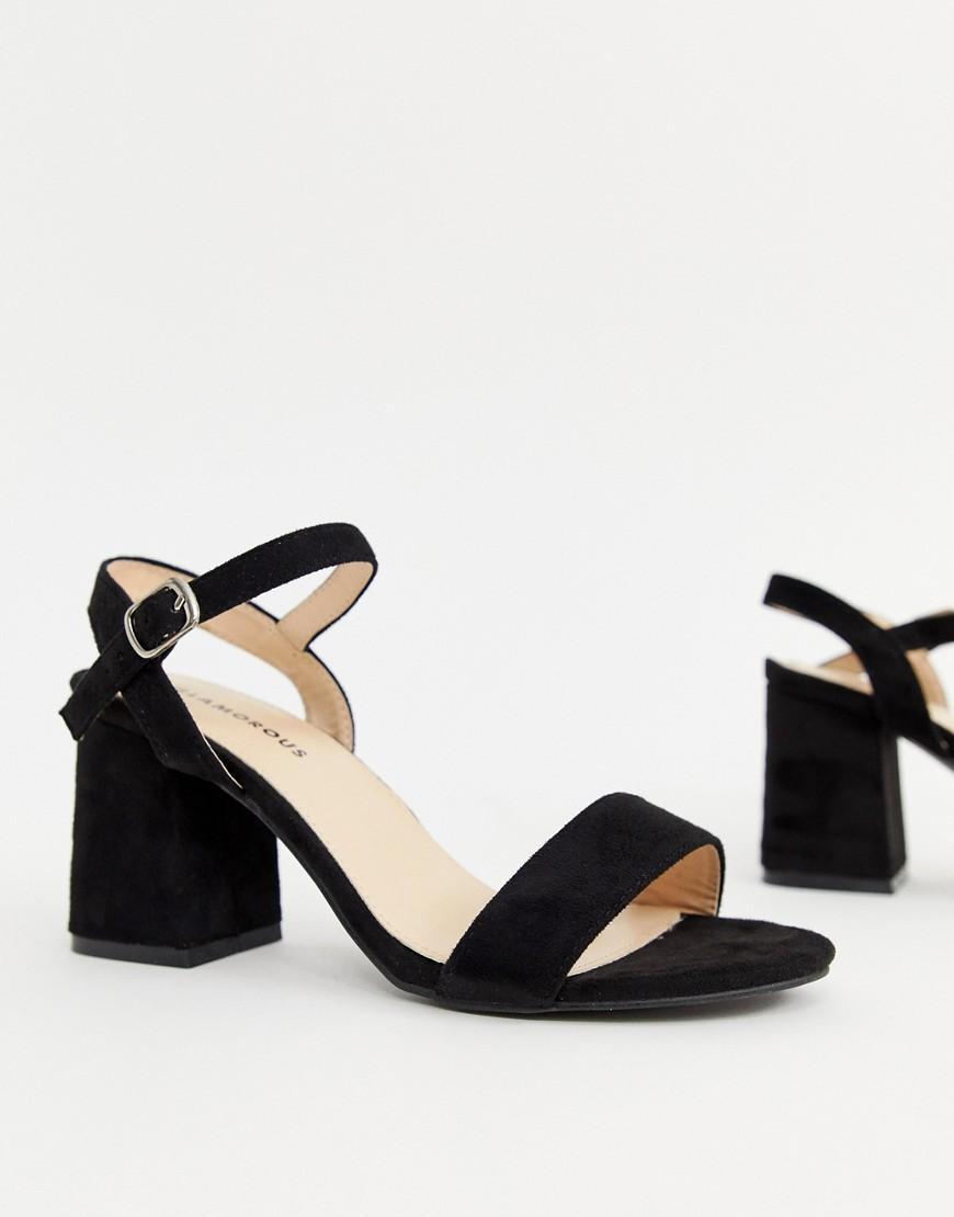 73c5b73a890 Glamorous Black Block Mid Heeled Sandals in Black - Lyst