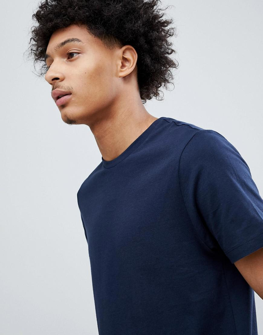 Asos Design T Shirt With Crew Neck In Navy In Blue For Men