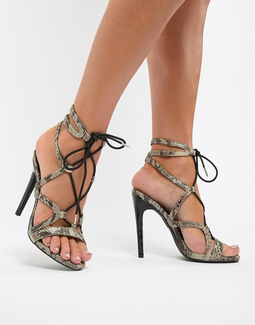 47376e1f287 Lyst - New Look Stiletto Snake Heeled Sandal in Black
