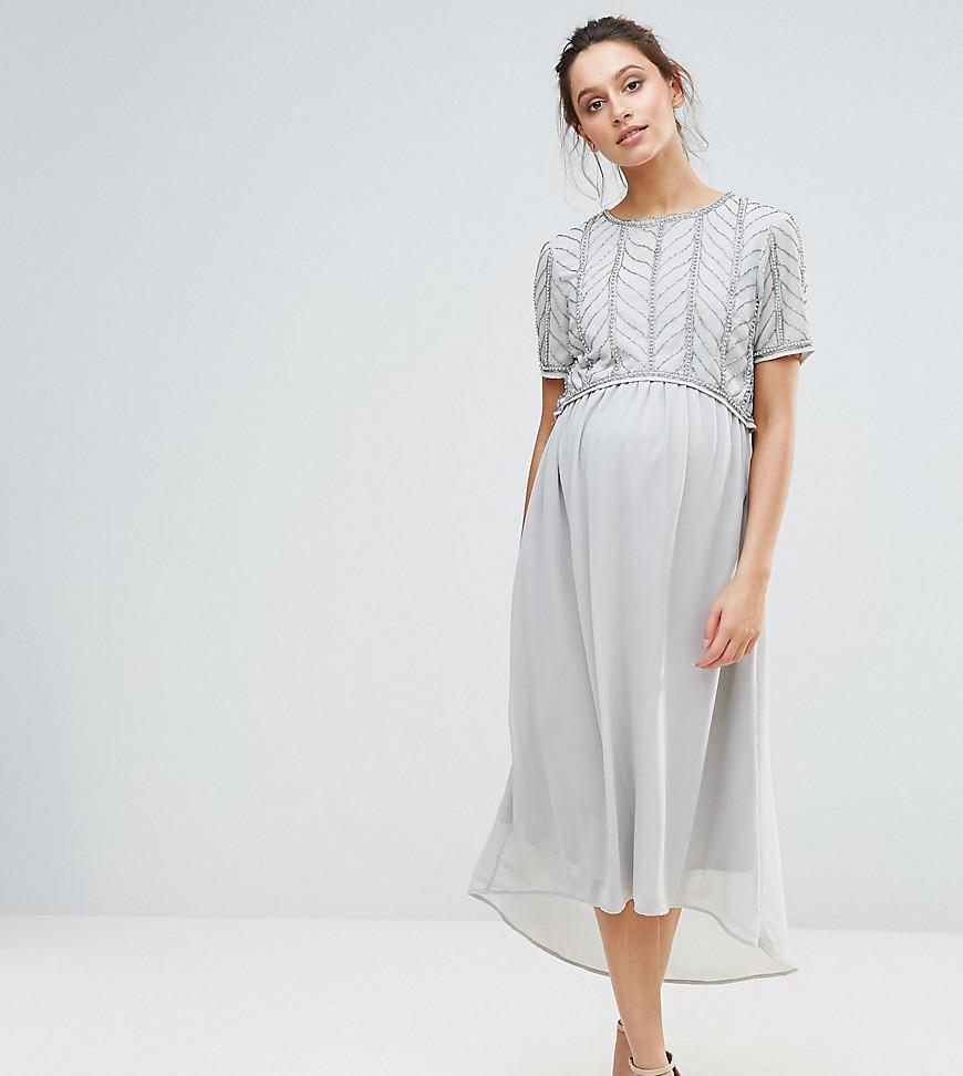 4219f78012807 Maya Maternity Hi Lo Midi Dress With Embellished Bodice in Metallic ...