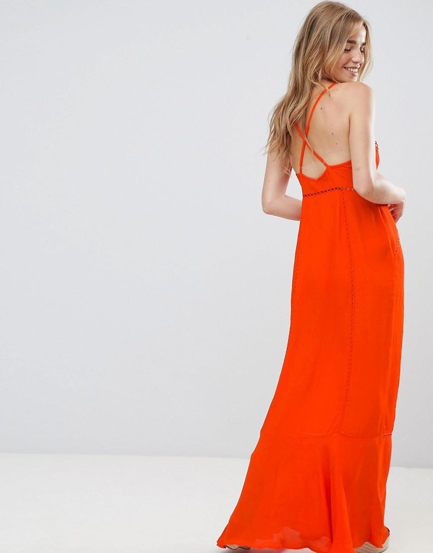 d08744f1735 Lyst - ASOS Broderie Insert Maxi Dress in Red