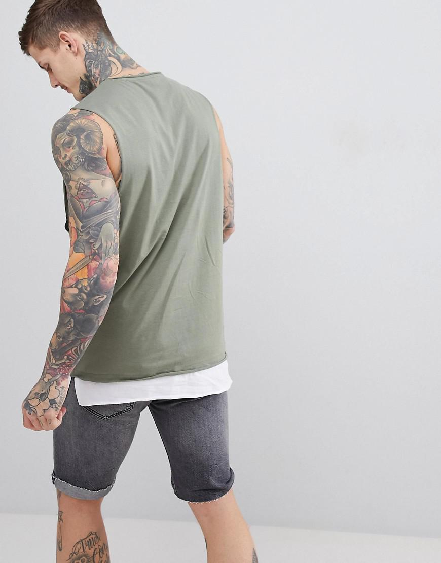 947120e210b93 Lyst - ASOS Sleeveless T-shirt With Dropped Armhole And Contrast Layer In  Green in Green for Men