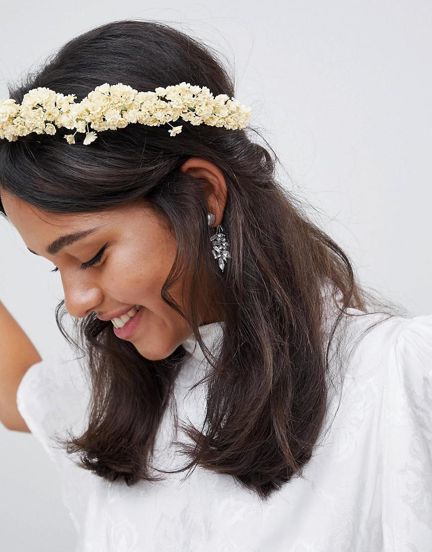 Asos Design Bridal Faux Gypsophila Floral Crown Headband In White Lyst