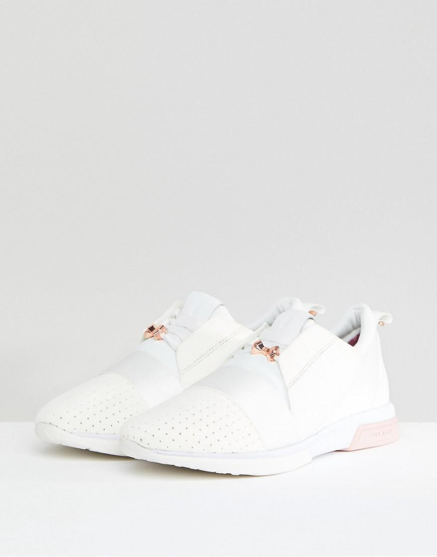 14913a40b133d7 Ted Baker Cepas White And Rose Gold Strap Trainers in White - Lyst