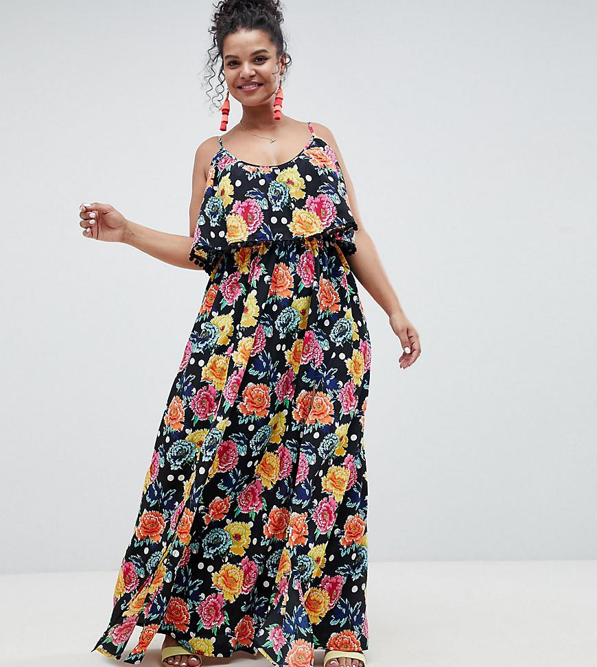 77b95698ec ASOS Asos Design Curve Mixed Spot Floral Double Layer Maxi With Pom ...
