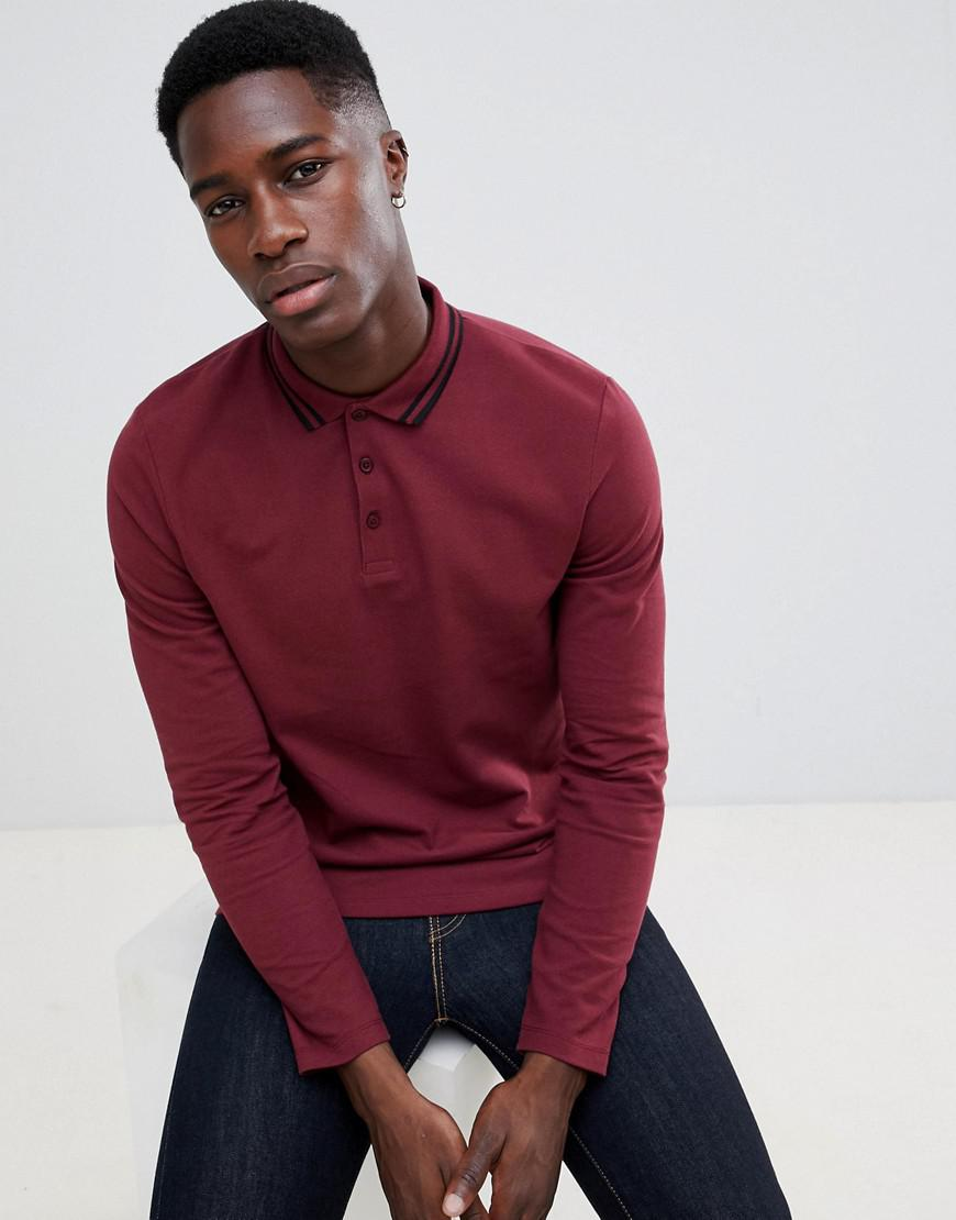 240ed7af Lyst - ASOS Long Sleeve Pique Polo Shirt With Tipping In Burgundy in ...