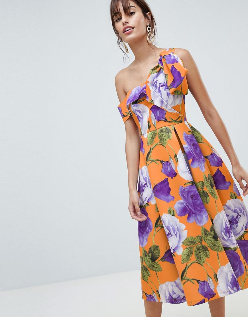 80f8cc3dc28 ASOS Scuba Bow One Shoulder Prom Dress In Bright Floral Print - Lyst