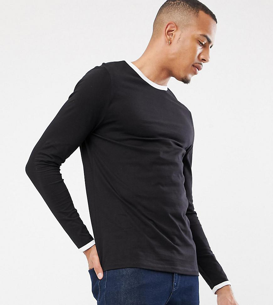 9eae4750 ASOS. Men's Tall Long Sleeve T-shirt With Crew Neck With Contrast ...