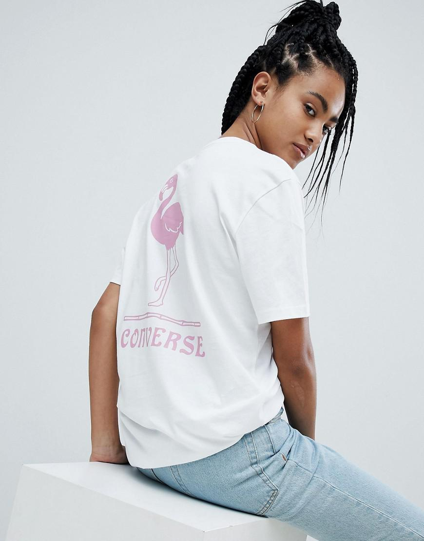 7b23eb284b48f3 Lyst - Converse Short Sleeve T-shirt With Flamingo Back Print in White