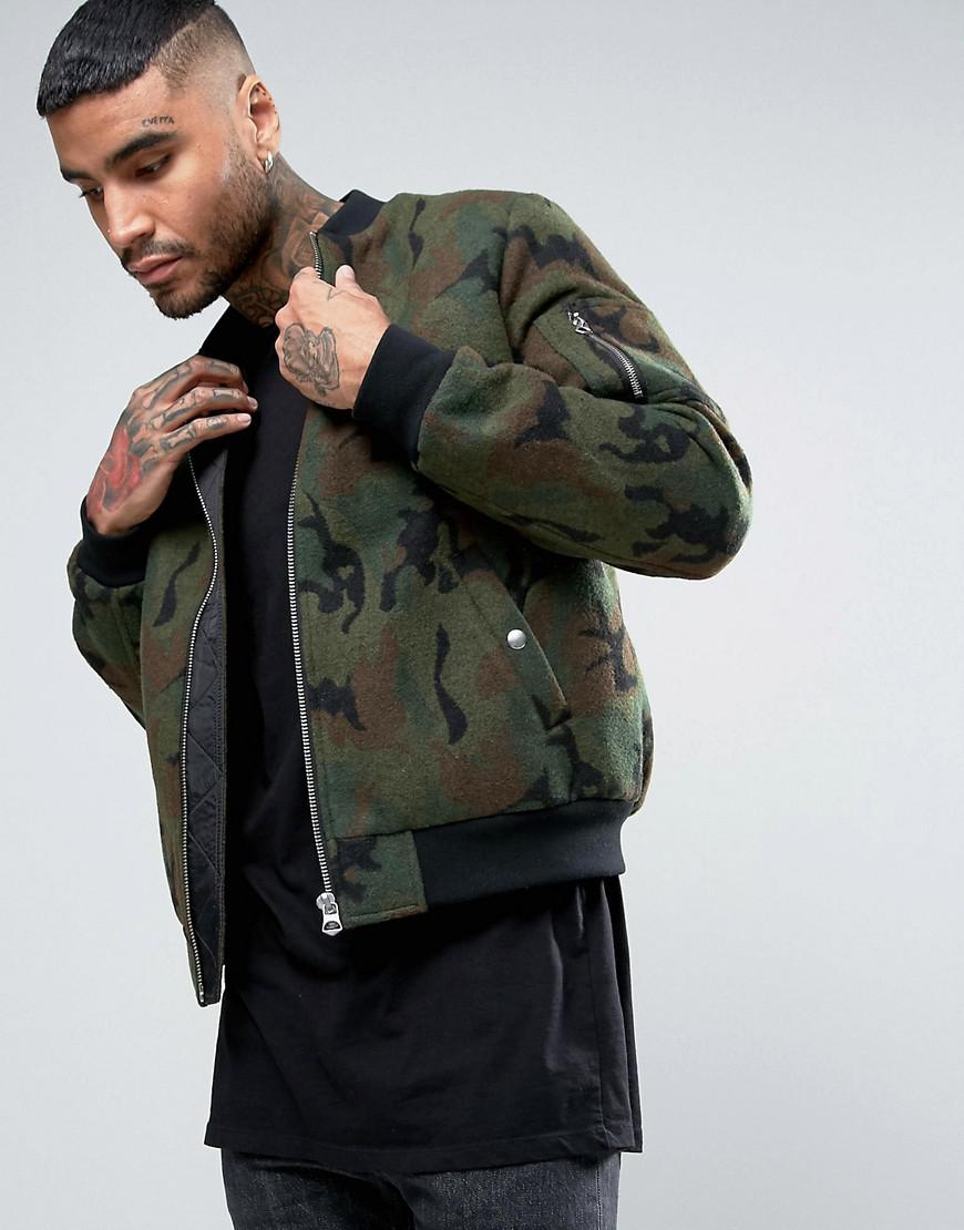 lyst asos wool mix bomber jacket in camo print in green for men. Black Bedroom Furniture Sets. Home Design Ideas