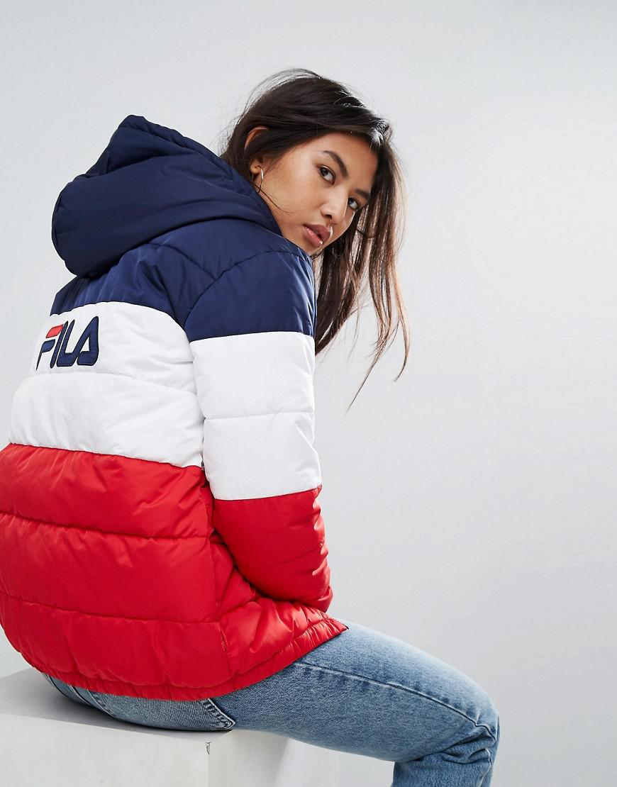 5b01114aa54b Lyst - Fila Longline Padded Jacket With Hood And Back Logo In ...