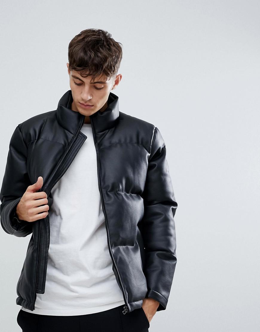 a89cfbf2e D-Struct Faux Leather Pu Puffer in Black for Men - Lyst