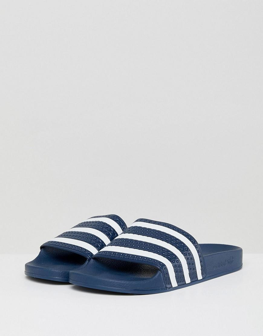 abad025c77715 Lyst - adidas Originals Adilette Sliders In Navy in Blue for Men
