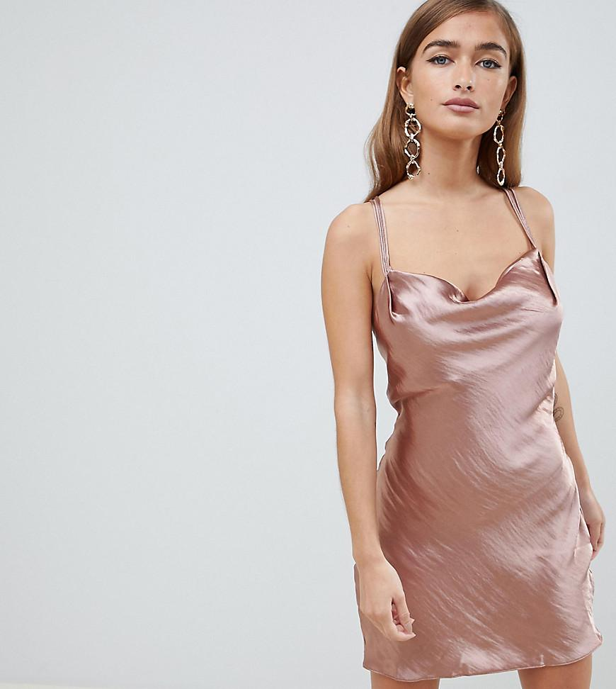 8618bc6e50e0 ASOS. Women's Asos Design Petite Bias Cut Cowl Neck Mini Dress In High Shine  Satin