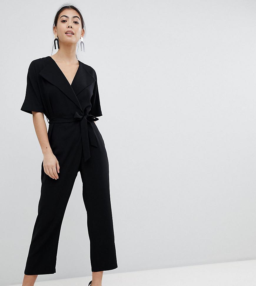7f40748388fa ASOS Asos Design Petite Wrap Jumpsuit With Self Belt in Black - Lyst