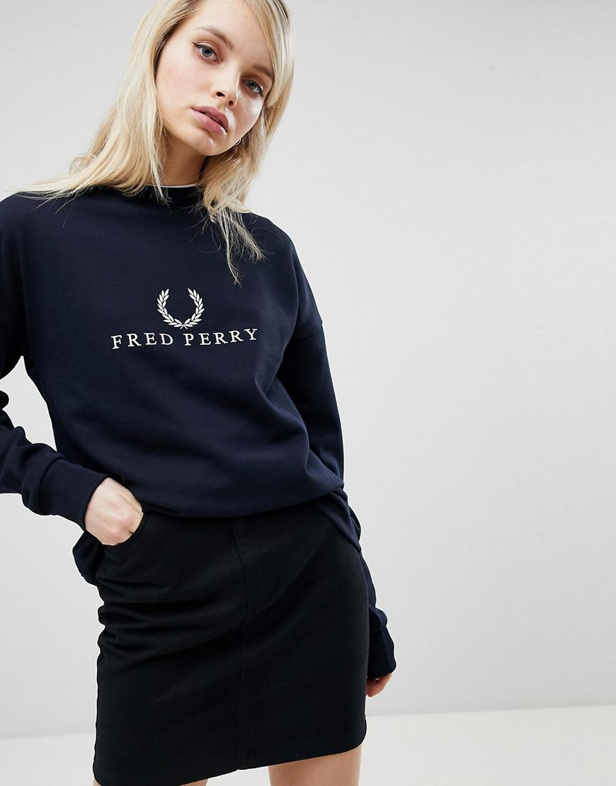 Lyst - Fred Perry Embroidered Logo Sweatshirt in Blue d8fc4106571