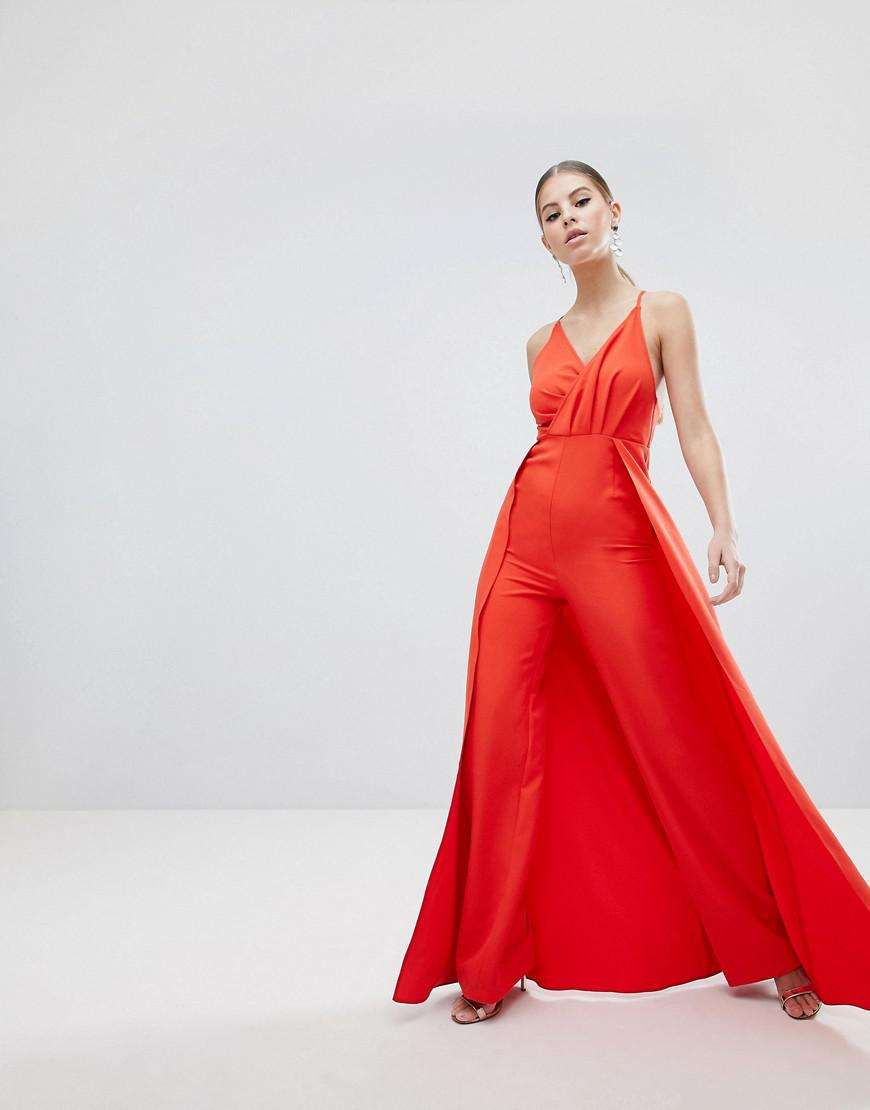 96e8290ecaca ASOS Drape Bodice Jumpsuit With Wide Leg And Overlay in Red - Lyst