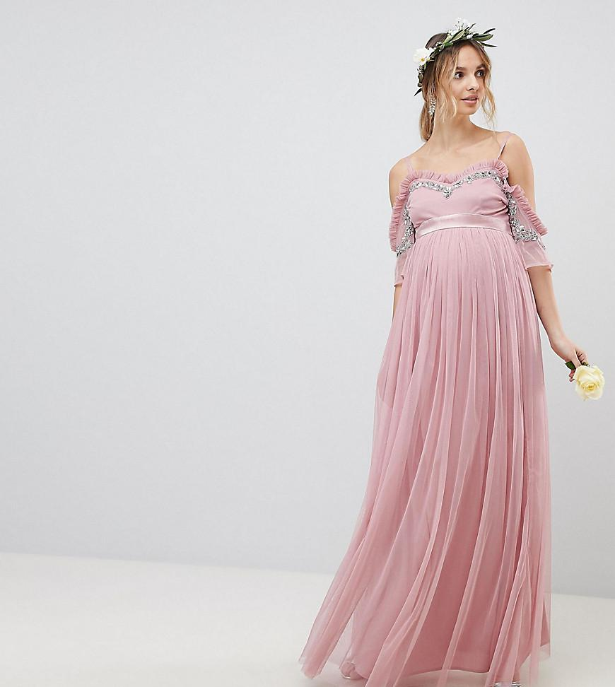 50e17a2636a01 Maya Maternity Cold Shoulder Sequin Detail Tulle Maxi Dress With ...