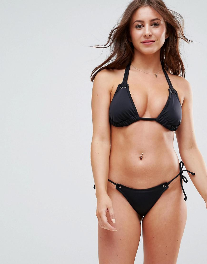 9f9c190010d4 ASOS Mix And Match Thong Bikini Bottom With Eyelets in Black - Lyst