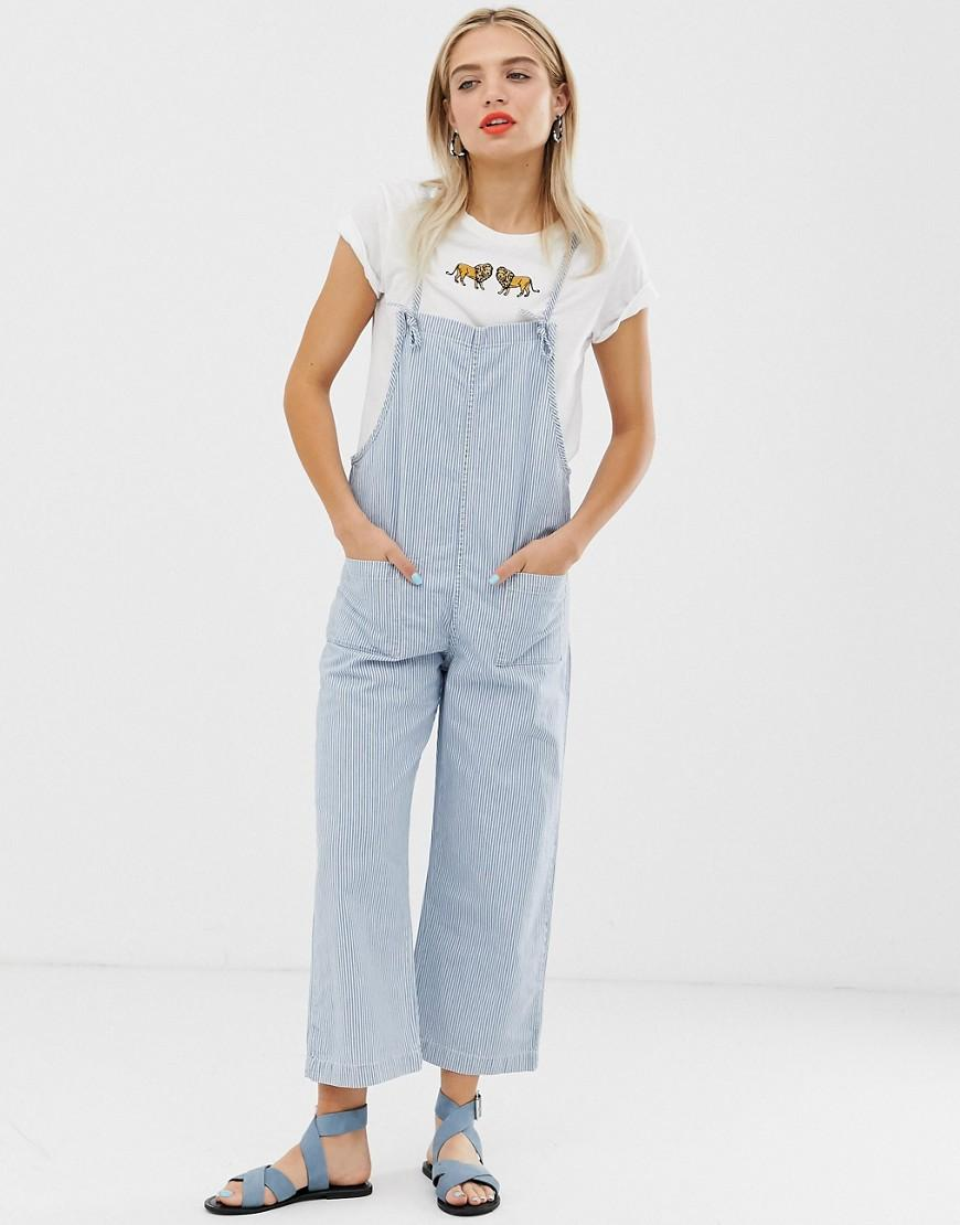 99ed07bbb700 Monki Denim Overall Jumspuit In Blue And White Stripe in Blue - Lyst
