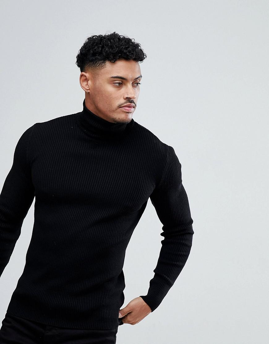 1eb7eb6bfae28c ASOS - Muscle Fit Ribbed Roll Neck Jumper In Black for Men - Lyst. View  fullscreen