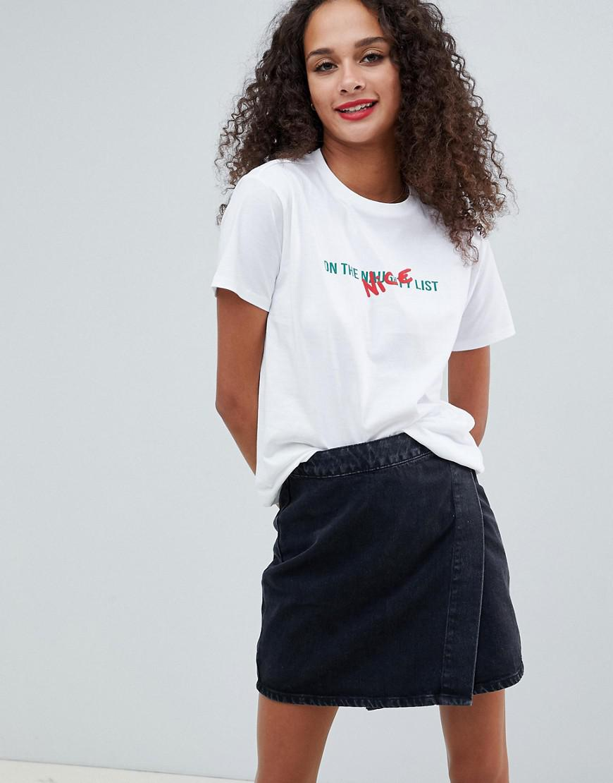 293de37dc2d ASOS Christmas T-shirt With Naughty List Print in White - Lyst