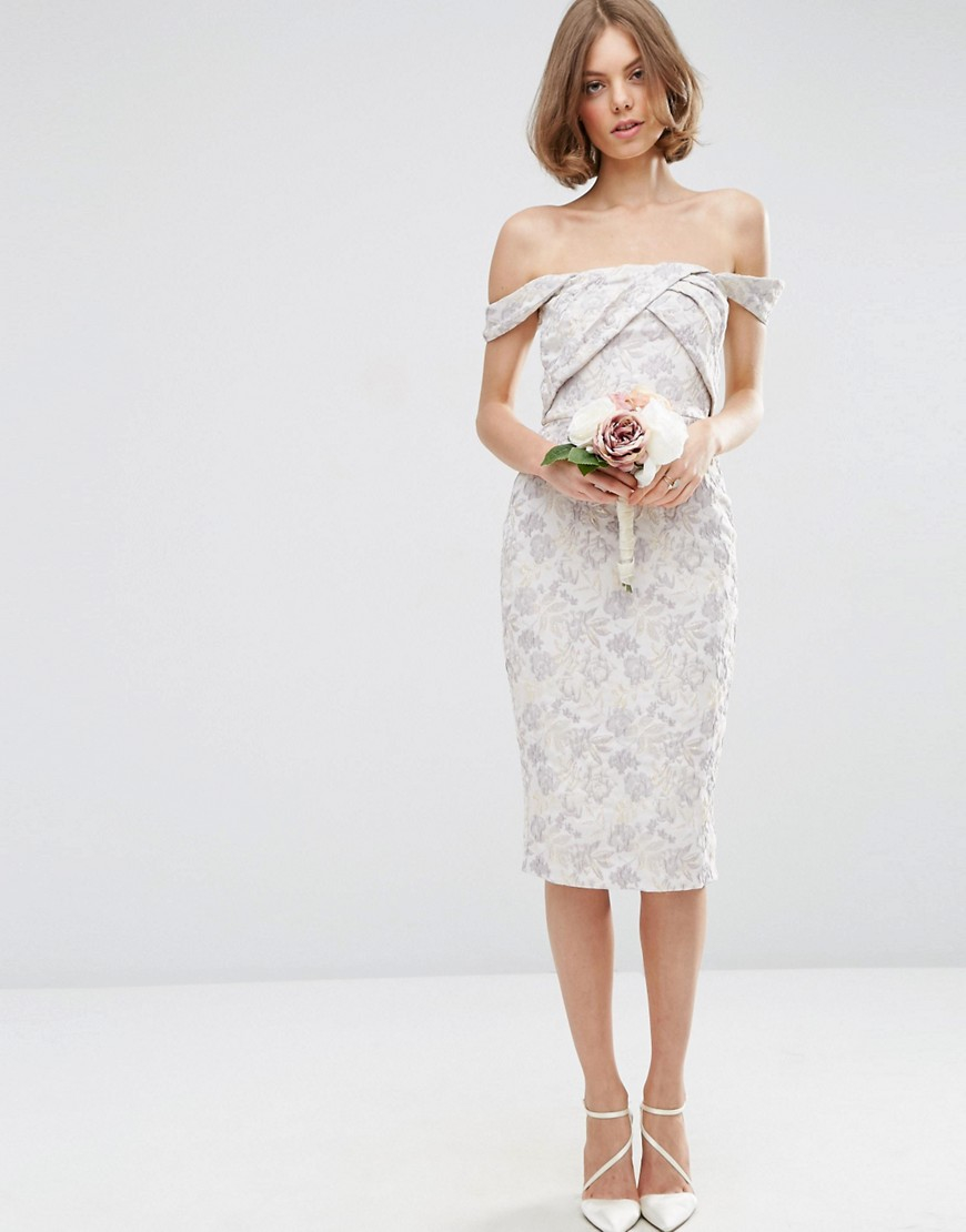 Asos wedding jacquard midi pencil dress lyst for Pencil dress for wedding